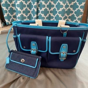 Coach Navy and Blue Tote with Attachable wallet